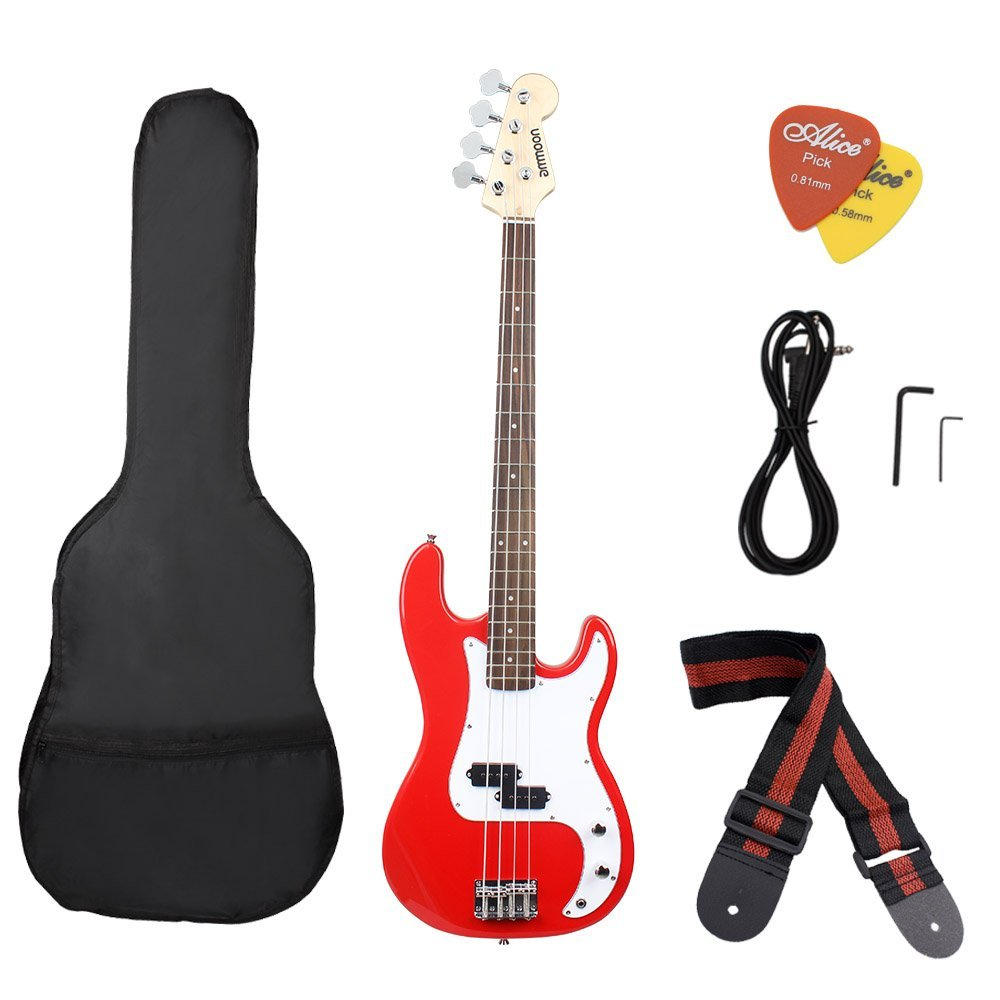 ammoon Solid Wood Electric Bass Guitar PB Style Basswood Body Rosewood Fingerboard with Gig Bag Strap Cable Pickups PB style electric bass guitar
