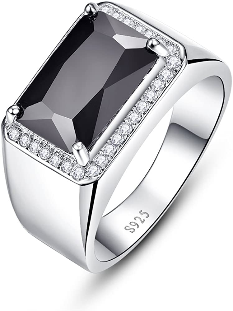 Bonlavie Mens 925 Sterling Silver Wedding Bands Ring Square Cut 6 8ct Created Black Spinel Engagement Ring Size 6 11 Amazon Com