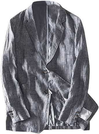 Sayla 2019 Ropa Hombres Invierno Abrigo Chaqueta Casual De Lino A Medida Chaqueta De Traje Liviana De Dos Botones De Manga Larga Abrigo Deportivo: Amazon.es: Ropa y accesorios