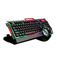 PowerLead Metal Base USB Backlit Wired Mechanical Gaming Keyboard and Mouse Set-black