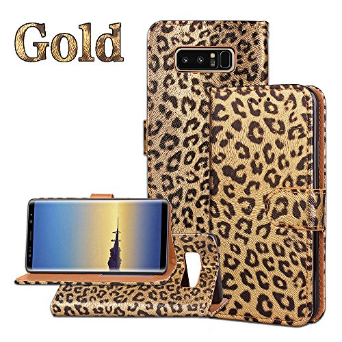 (Galaxy note 8 phone case,PU Leather Luxury Leopard Pattern Wallet Flip Case Card Slots With Magnetic Closure Wallet Case For Samsung galaxy note 8 (gold) )