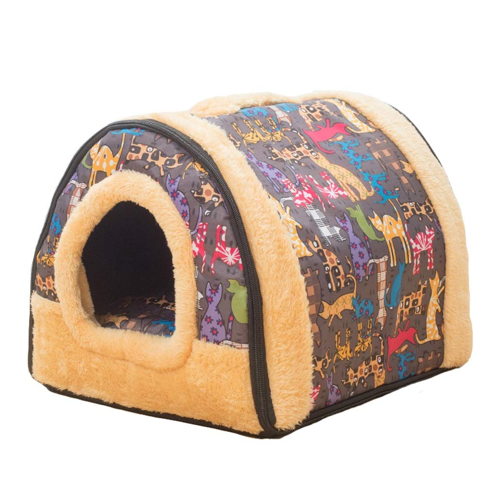 D M D M Kennel, 2 in 1 Dog Houses Small Medium-Sized Dogs Washable Dog Beds Cat Litter Yurt Winter Warm Pet Supplies (color   D, Size   M)