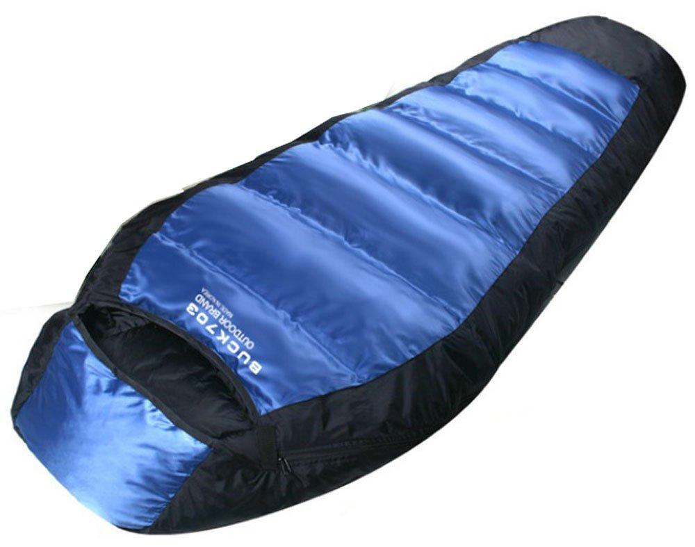 Buck703 Sac de couchage en duvet doie et de canard hiver en plein Air Camping randonnée chasse-Couverture de lit Double Bleu-Garnissage 1300 g Sac de ...