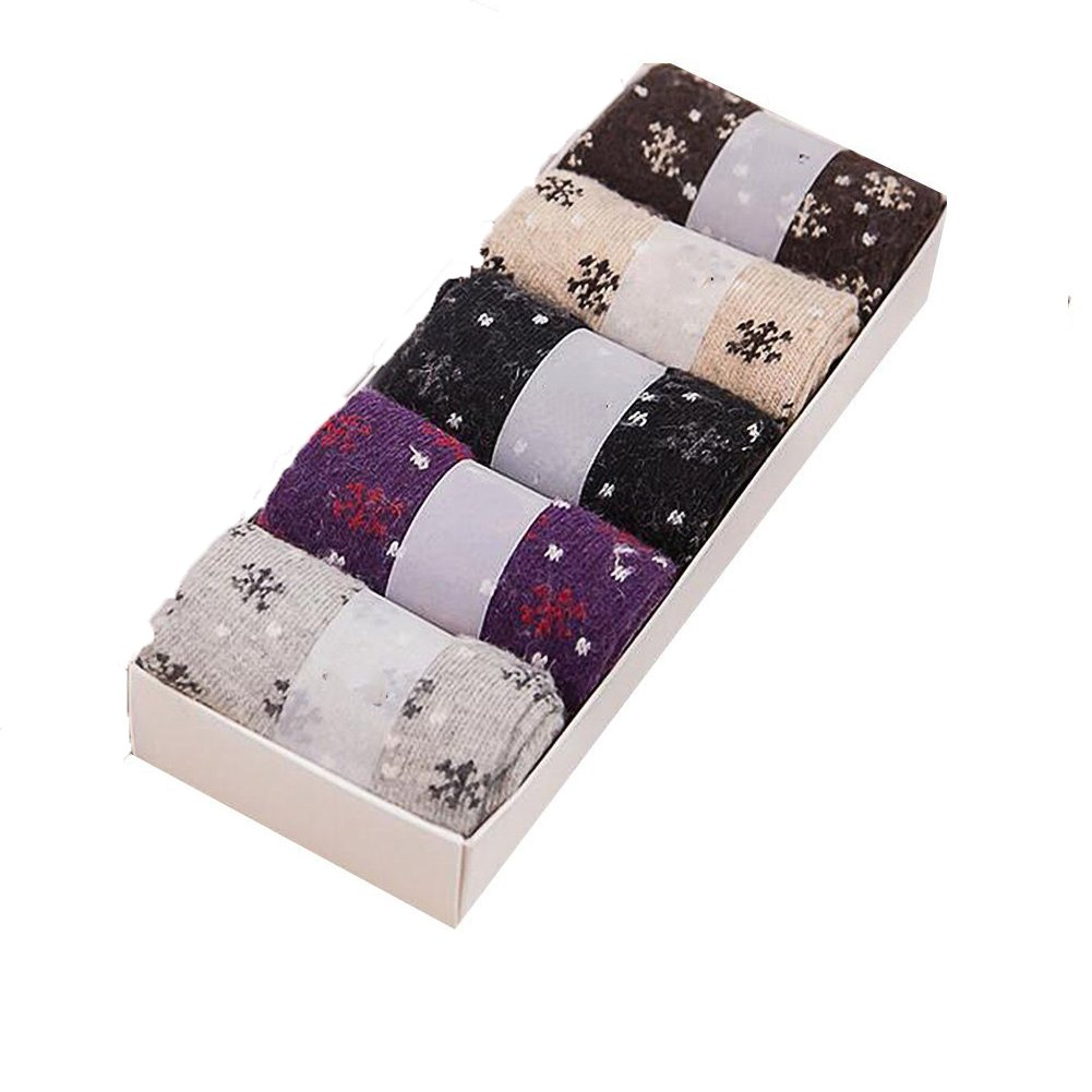 Fablcrew Fluffy Women Socks Wool Cashmere Casual Socks Christmas Valentine's Day Gift 5 Pairs