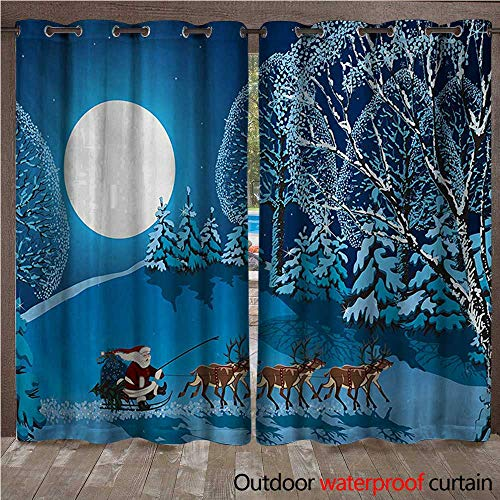 urtain Santa in Sleigh a Night with Full Moon in The Sky Snowy Winter Xmas Theme PrintW120 x L108 Navy Blue ()