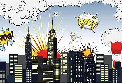 Yongfoto 3x2m Fotografie Hintergrund Karikatur Stadt Kamera