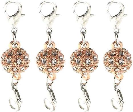 10pcs Silve /& Rosegold Rhinestone Magnetic Lobster Clasps DIY Jewelry Making