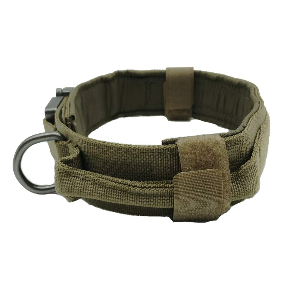 Brown M Brown M Motusamare Tactical Dog Collar Adjustable Military Training Collars with Control Handle Quick Release Metal Buckle 1.5