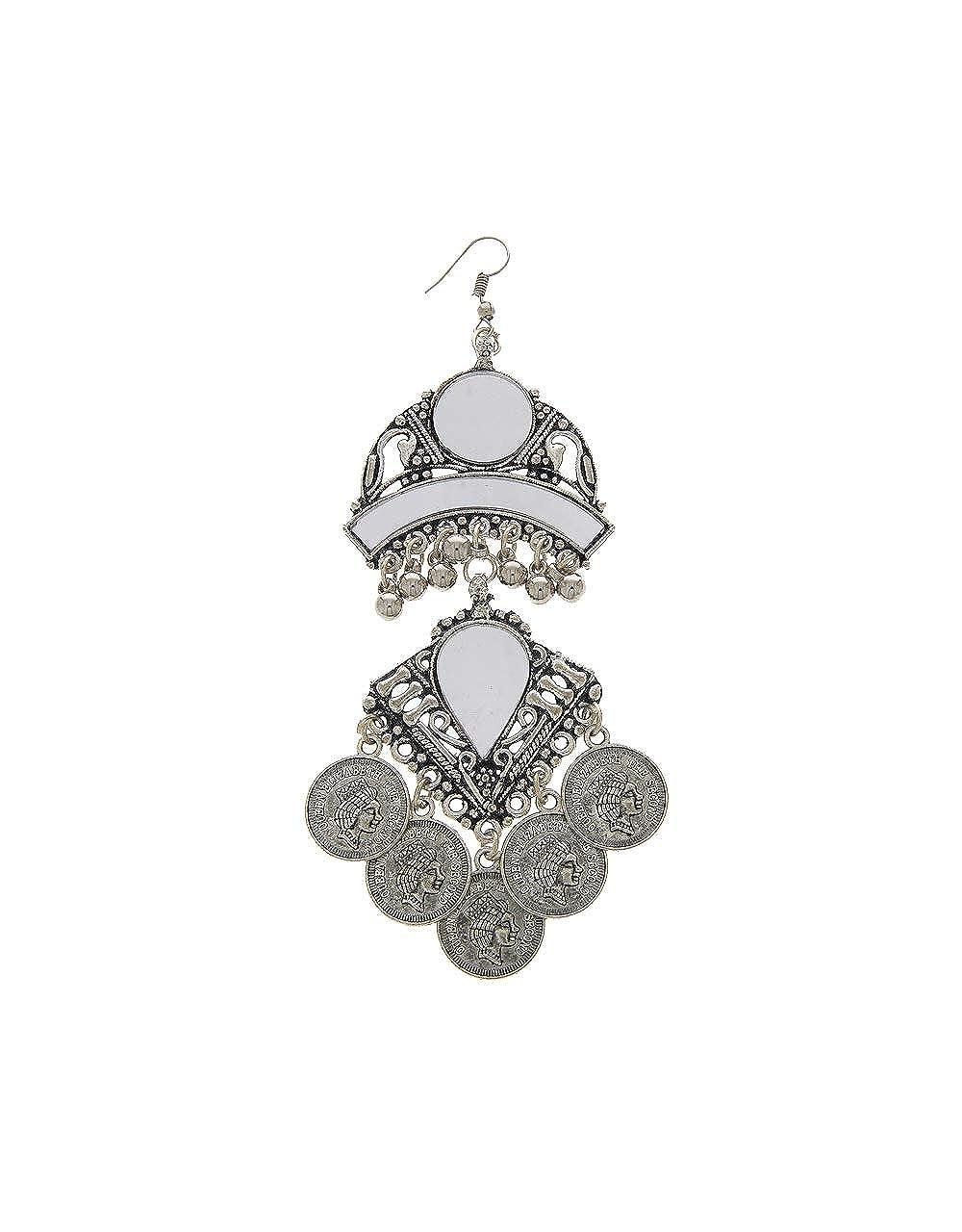 Anuradha Art Silver Finish Designer Long Navratri Earrings For Women//Girls