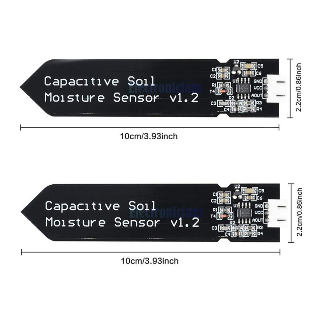 riego de jard/ín Paquete de 2 Bricolaje COVVY Sensor de Humedad de Suelo Resistente a la corrosi/ón para detecci/ón de Humedad Arduino