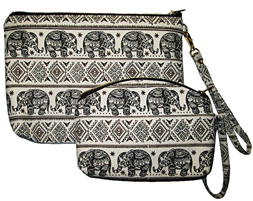 Cosmetic Makeup Bag Set 2 Pieces Pencil Pen Case Pouch Bag Elephant Canvas Unique Handmade (Black)