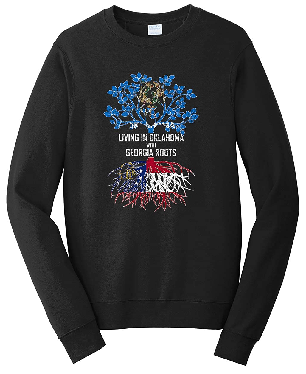 Tenacitee Unisex Living in Oklahoma Georgia Roots Sweatshirt