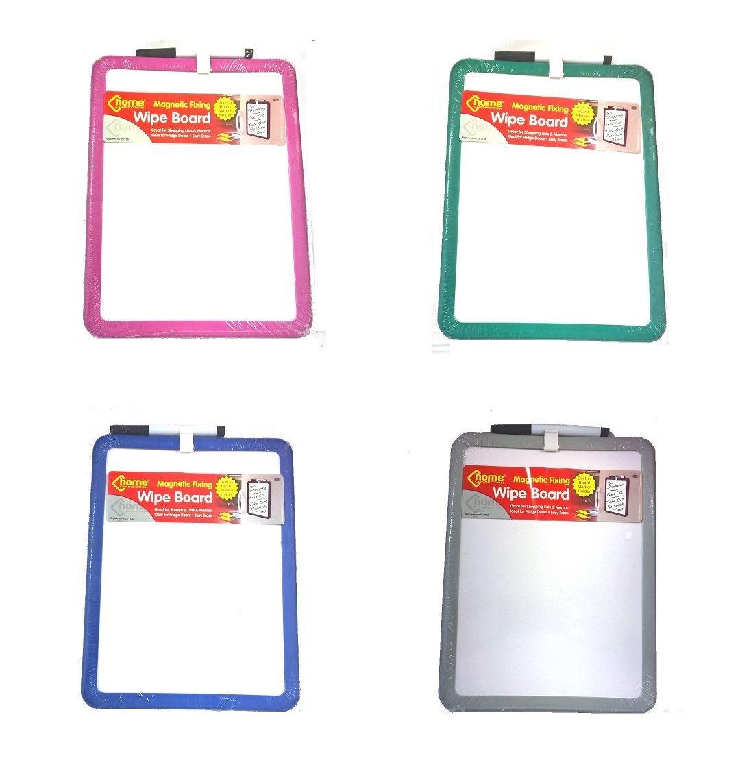Lavagna cancellabile magnetica con penna, ideale per elenchi & appunti, 4 colori, colore: rosa/blu/verde/grigio Home Connection