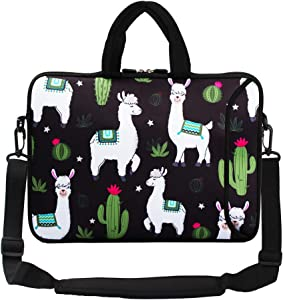 "Violet Mist 13""15""15.6""Neoprene Laptop Sleeve Bag Waterproof Sleeve Case Briefcase Pouch Bag Adjustable Shoulder Strap External Pocket for Men Women(11""12""13""-13.3"",Alpaca Cactus-B)"