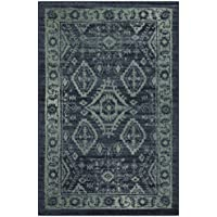 Maples Rugs Kitchen Rug - Georgina 2.5 x 4 Non Skid Small Accent Throw Rugs [Made in USA] for Entryway and Bedroom, 2'6 x 3'10, Navy Blue/Green