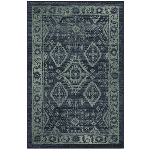 Maples Rugs 2'6 x 3'10 Non Skid Hallway Entry Rugs Accents [Made in USA] for Kitchen and Entryway, Navy Blue/Green (Rug Store Maples)