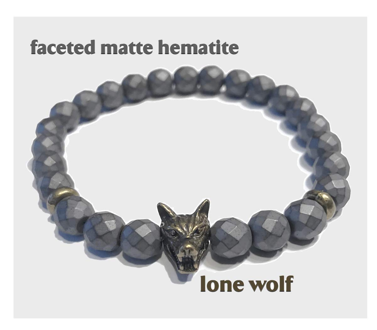 KarmaArm Wolf Bracelets, Meditation Bracelets Beaded Yoga Reiki Healing Boho Chakra Wrap Stretch Jewelry & Gifts   Leader of The Pack: Hematite (6)