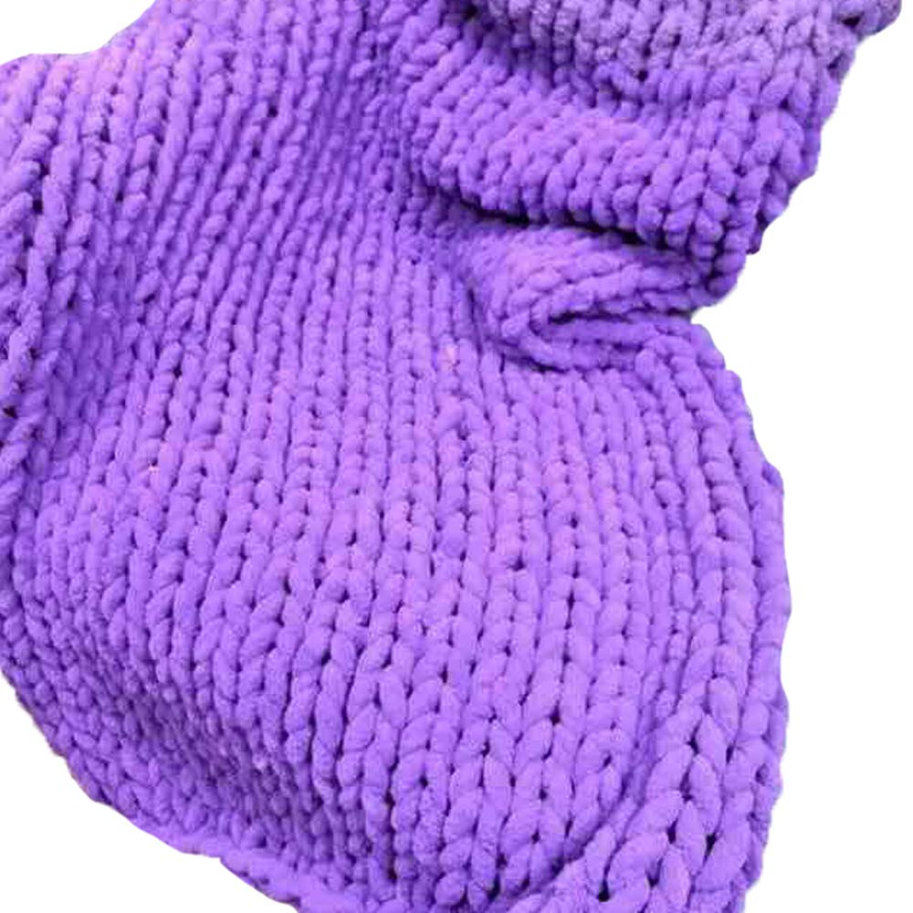Purple Handmade Chunky Knit Blanket Chunky Knit Throw,59x79in Chenille Yarn Blanket,Arm Knitting Blanket Super Thick Blanket Chair Couch Décor by FAU-Hand Knit Blanket (Image #1)