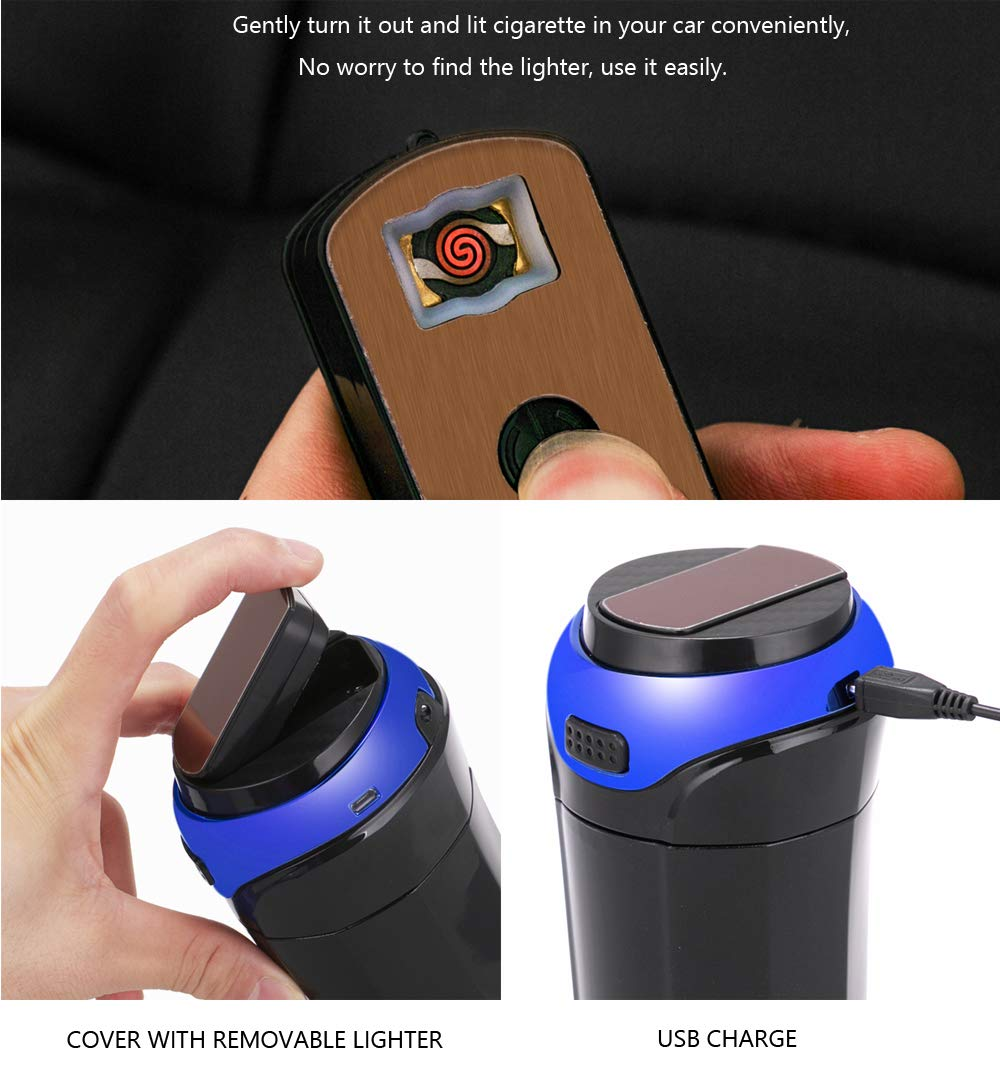 Detachable Stainless Car Ashtray with Removable Lighter and Blue Led Light Lid for Most Car Cup Holder YHG004 Vatenzone Car Ashtray