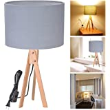 Yescom Wooden Tripod Table Lighting Cotton Fabric Lampshade w/ Original Wood Color Oak Stand for Room Cafe