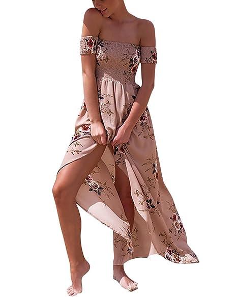 cf730ef5920f LaoZan Vestiti Donna Eleganti Vestiti Estivi Lungo Vestito Spiaggia Spalla  Nuda Abito con Lo Spacco Vestito
