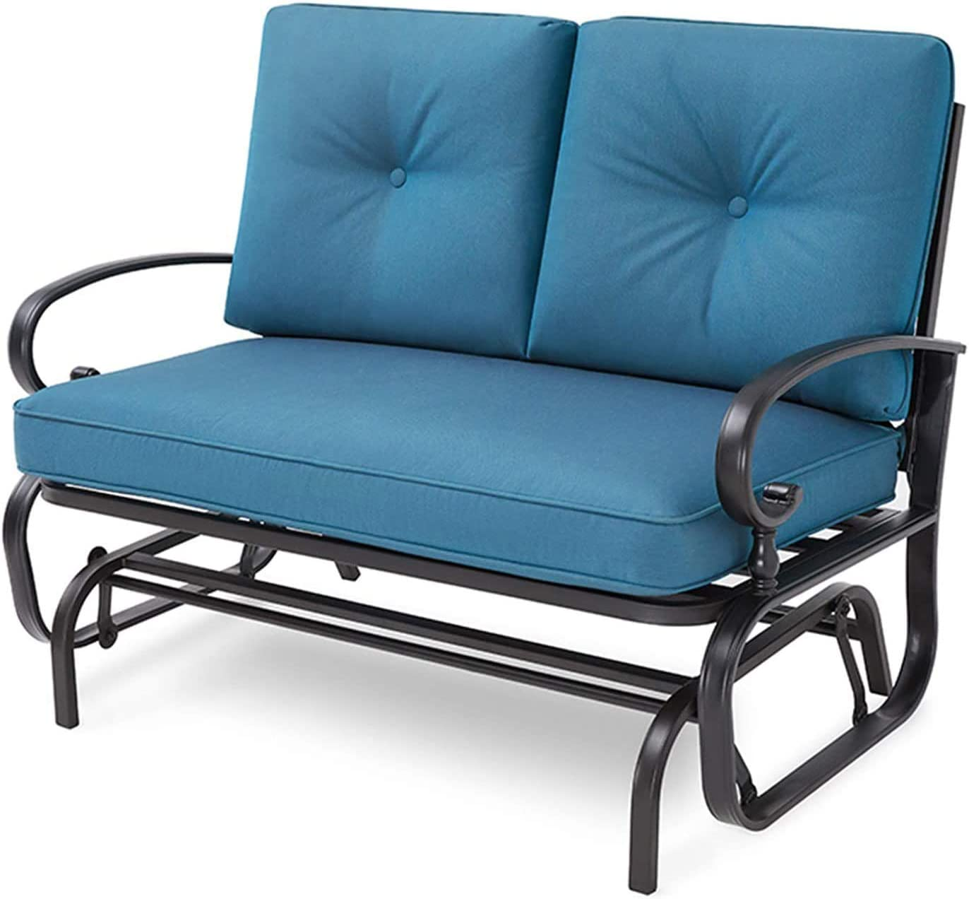 Crownland Outdoor Patio Glider Rocking Bench,Porch Furniture Glider Loveseat Seating,Wrought Iron Chair Set with Cushion, Peacock Blue