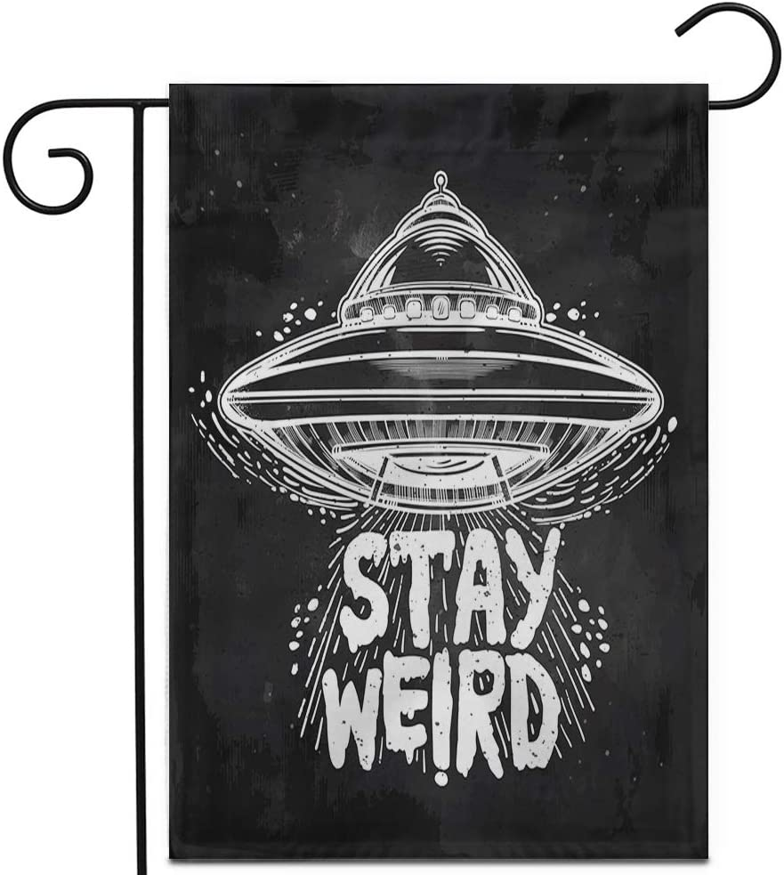 "Awowee 12""x18"" Garden Flag Alien Stay Weird Lettering Inspirational UFO Tattoo Martian Outdoor Home Decor Double Sided Yard Flags Banner for Patio Lawn"