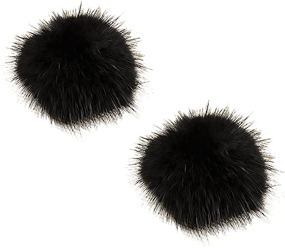 ZAKIA Women' Fluffy Mink Fur Pom Removable Shoe Clips Clutch Wedding Decoration Pack of 2