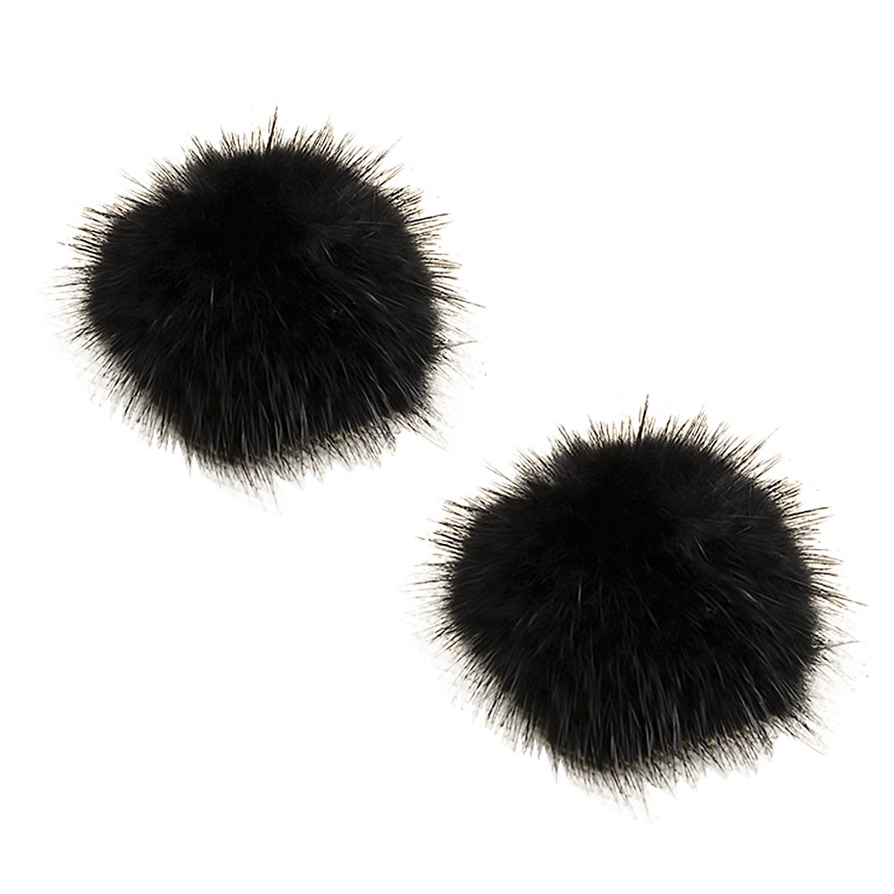 ZAKIA Women' Fluffy Mink Fur Pom Removable Shoe Clips Clutch Wedding Decoration Pack of 2 (Black)