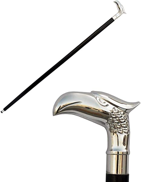 Decorative Handles for Wooden SouvNear Canes Prime Day 2016 SouvNear Handmade Eagle Head Shape Metal Walking Stick Handle in Silver Color