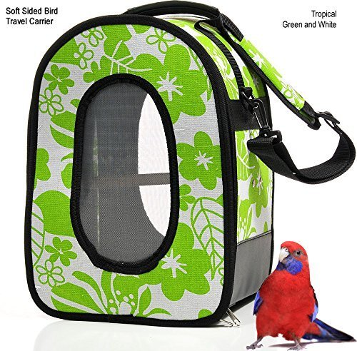 Soft Sided Bird / Parrot Travel Carrier (Green / White, Small/Medium) by Avianweb