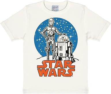 Logoshirt Star Wars - R2-D2 y C-3PO - Droides Camiseta para niño - Blanco Antiguo - Diseño Original con Licencia
