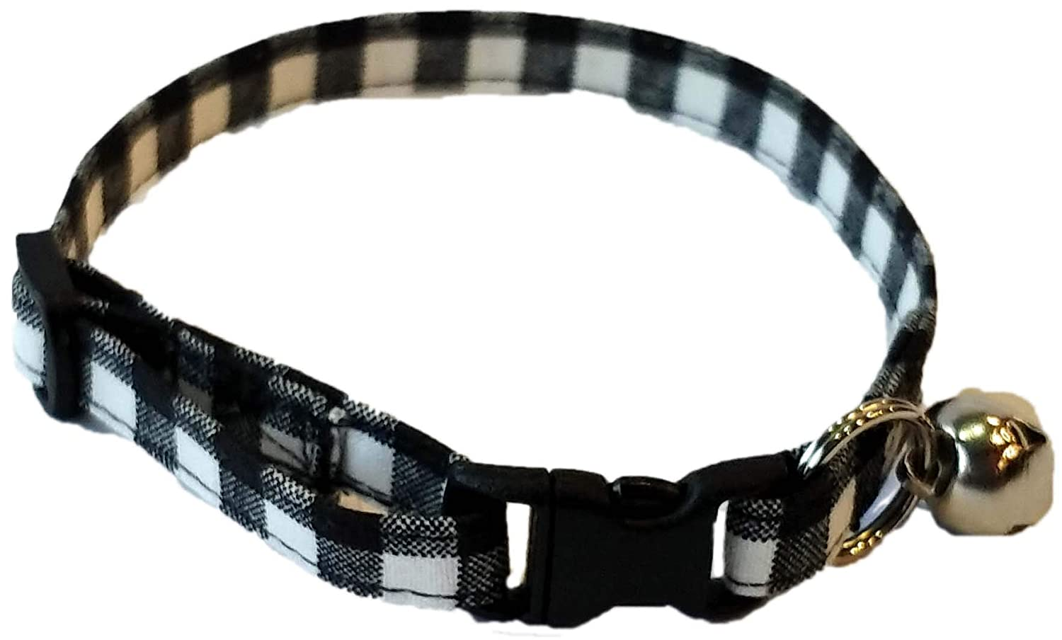 White Buffalo Plaid Cat Collar Handmade by Britches4Stitches Adjustable checkerboard Christmas checker Winter bell Break Away Kitten black gingham Check