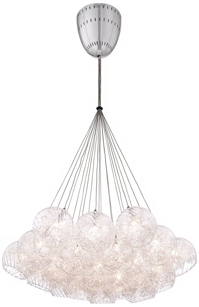 Possini Euro Wired 23 1 2 Wide Chrome Multi Light Pendant Chandeliers Com