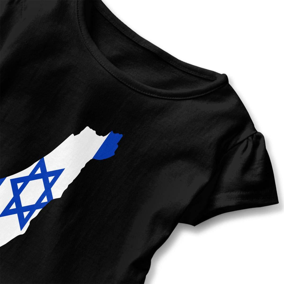 Vfbggg-Shirt Israel Flag Map Baby Girls Short Sleeve Ruffle Tee Cotton Kids T Shirts 2-6 Years