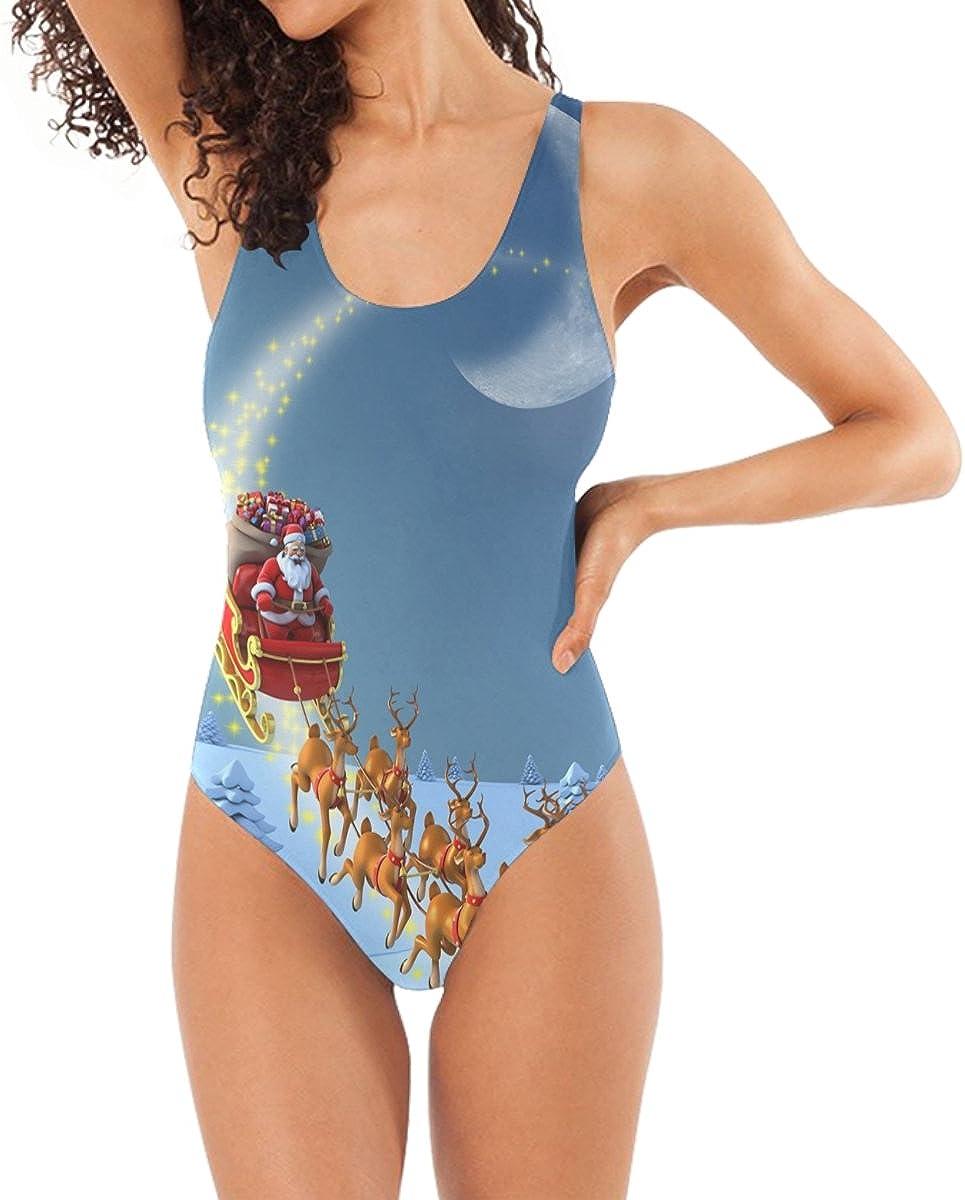 DragonSwordlinsu COOSUN Women's Christmas Santa Claus One Piece Swimsuit Scoop Back Monokini Swimwear Bathing Suit