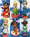Disney Baby Animator Christmas Tree Ornament Set of 6 Featuring Lilo, Elsa, Baby Moana, Tiana, Tinker Bell and Alice