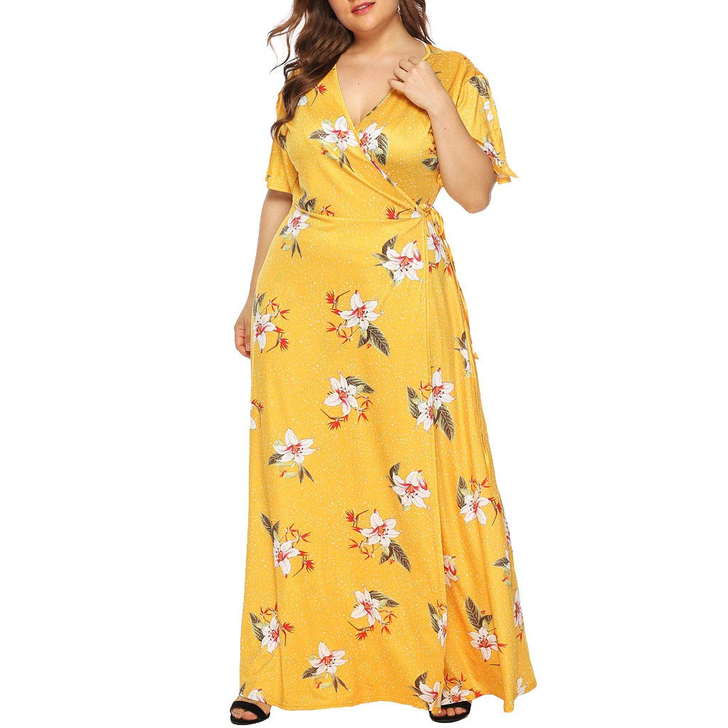 Women Wrap Tie Maxi Dress - Ladies Plus Size Floral Print V Neck Shorts Sleeve Long Dresses - Casual Loose Beach Vacation Clothes (XXXXL, Yellow)