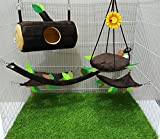Hot Sale! 5 Pcs Sugar Glider Hamster Squirrel Chinchillas Small Pet Log Cage Set Forest Pattern - Polar Bear's Republic