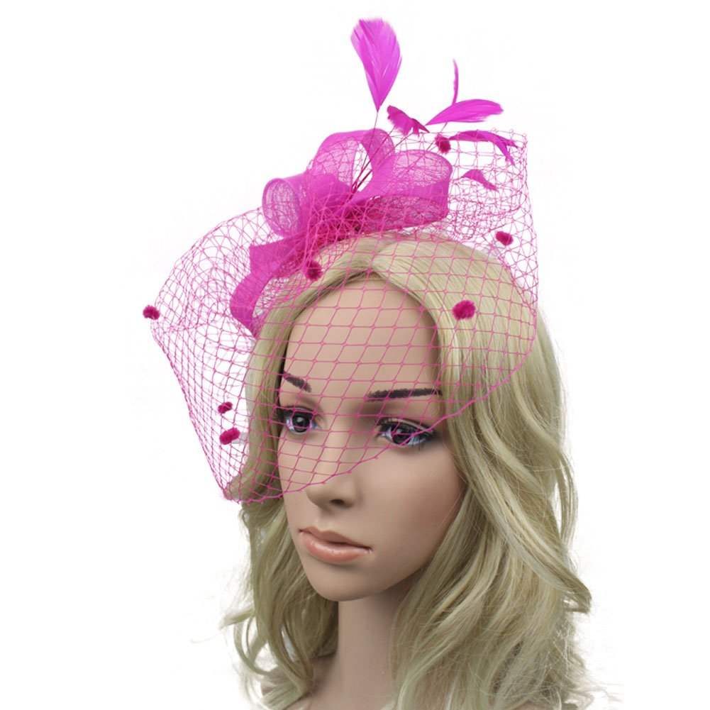 Song Lady Top Net Mesh Hat Derby Fascinator Hair Clip for Wedding Cocktail Party Veil Feather Rose