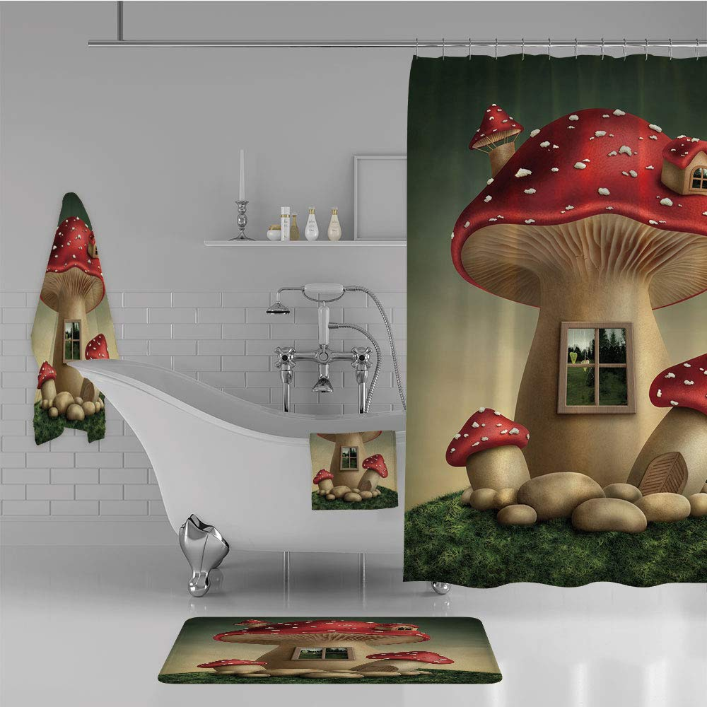 Bathroom 4 Piece Set Shower Curtain Floor mat Bath Towel 3D Print,House in Fantasy Forest Cottage Window Surreal,Fashion Personality Customization adds Color to Your Bathroom.
