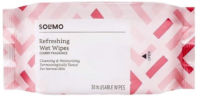 Amazon Brand - Solimo Refreshing Wet Wipes, Cherry - 30 Wipes