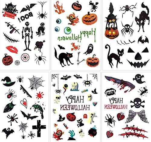 Tomaibaby 10 Feuilles Halloween Tatouages ??Temporaires Dessin Anim/é Citrouille Cr/âne Citrouille Autocollants de Tatouage Fant/ôme Tatouages ??Jetables Enfants Faux Tatouage D/écoration
