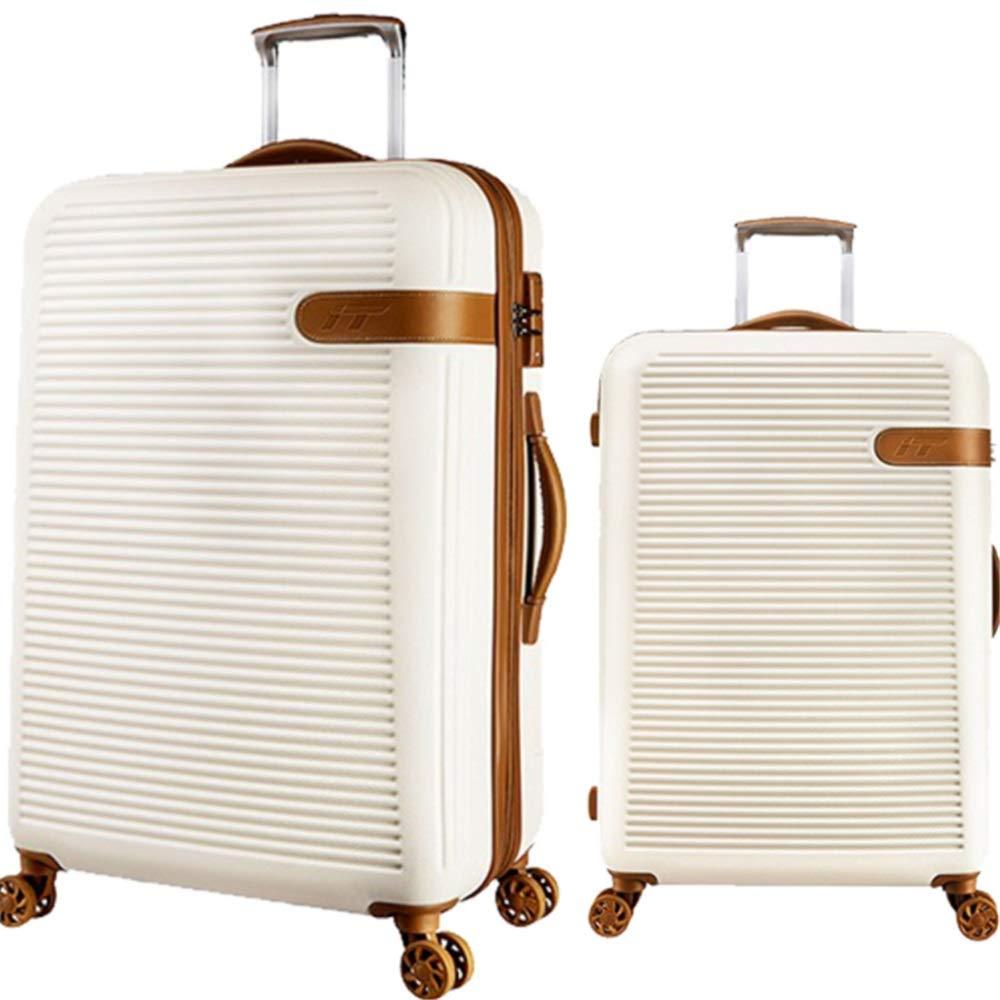 スーツケース TSAロックトラベルキャリング付きサイレントローテーター多方向航空機搭乗付きトラベルトラベルスーツケース付き回転セット あなたとスーツケースを持っていく (色 : 白, サイズ : 20in+24in) B07SSWG5HQ 白 20in+24in