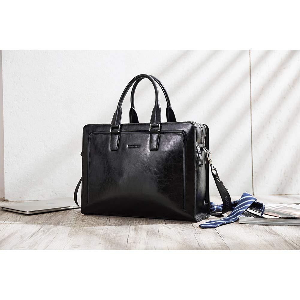 BOSTANTEN Women Genuine Leather Briefcase Tote Business Vintage Handbag 15.6'' Laptop Shoulder Bag Black by BOSTANTEN (Image #7)