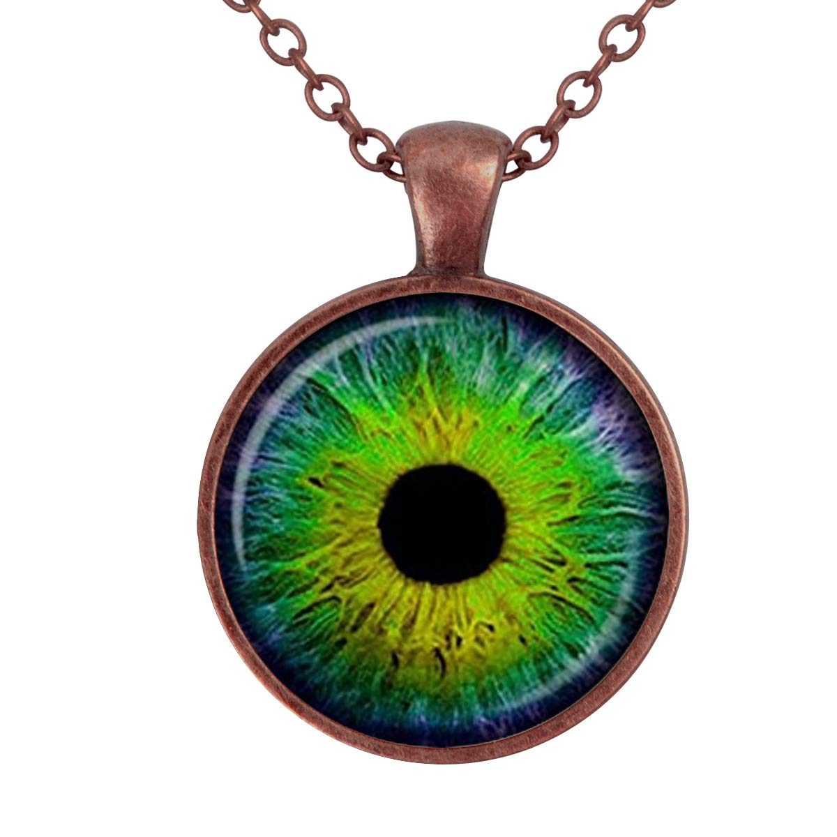 Lightrain Green The Evil Eye Color Pupil Pendant Necklace Vintage Bronze Chain Statement Necklace Handmade Jewelry Gifts