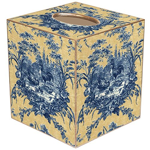 Blue and Yellow Toile Paper Mache Tissue Box Cover