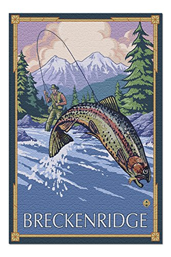 (Breckenridge, Colorado - Angler Fly Fishing Scene (Leaping Trout) (20x30 Premium 1000 Piece Jigsaw Puzzle, Made in USA!))