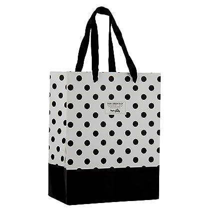 Amazon.com: Blanco y Negro Polka Dot Bolsas de papel de ...