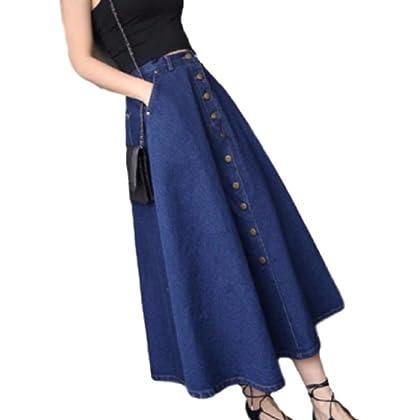マジックショップス デニム Aライン スカート レディース ロング 大きいサイズ フレアスカート